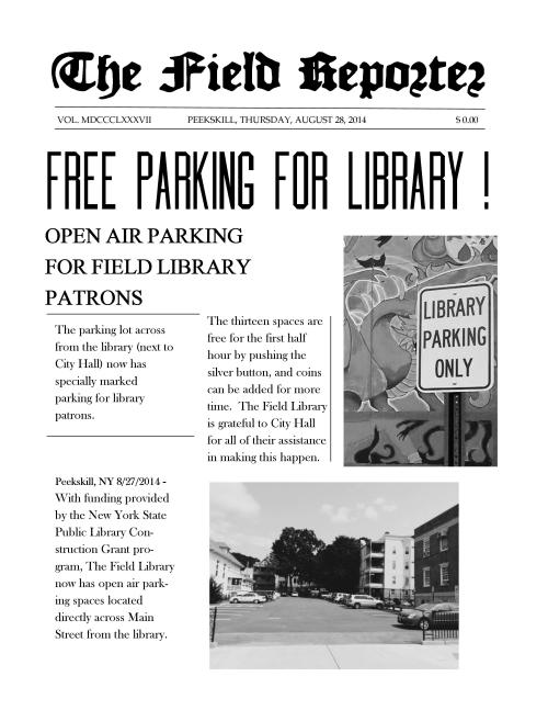 Field Library Parking Newspaper Ad