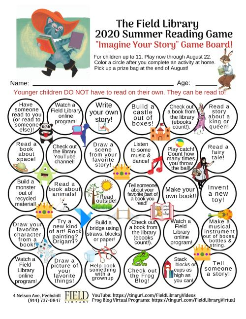 2020 Summer Reading Game Board